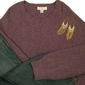 Halston XL Purple Rib Knit Ultra Soft Crew Sweater
